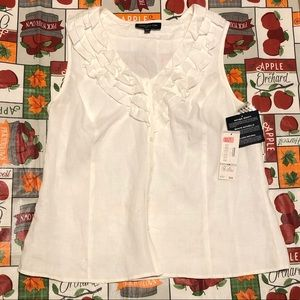 Jones New York 1X 100% Linen White Blouse NWT